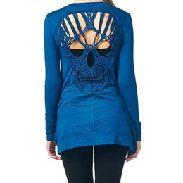 Wholesale Skull Knit Cardigan - Wholesale-2016 Autumn Winter Fashion Women Long Sleeve Slim cardigan Sweater Hollow Out Halloween Skull Cardigans
