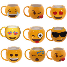 Wholesale Couple Birthday - 15kq Lovely Smiling Face Emoji Mug Porcelain Cup Cartoon Amused And Sad Cool Couple Mugs Coffee Cups For Birthday Gifts