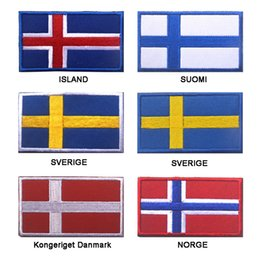 Wholesale Norway Sweden - 30PCS Embroidered Iceland Finland Sweden Denmark Norway Flag Patch Army Hook & Loop 3D Tactical Fabric Northern Europe Flag
