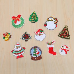 Remendos bordados do natal on-line-10 pçs / set Natal Ferro Em Patches Bordados Ferro De Costura Em Applique Para Pano Crachá Motivo