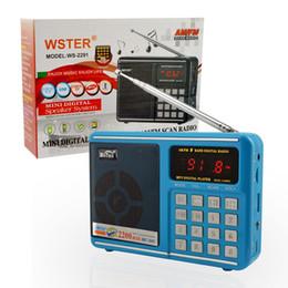 Wholesale Wholesale Small Radio Speaker - Bluetooth Mini Speaker with LED Display Blue FM Radio Receiver with Antenna Small Radio Player with TF Card AM FM Scan Radio Speakers
