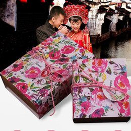 Wholesale Gift Card Printing - Creative Wedding Box Retro Hand-painted Rose Candy Box Carton Packaging Candy Box kraft Paper Rope+ Card