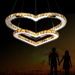 Wholesale Double Heart Cord - Free shipping LED Pendant Lighting Chandelier Light Transparent OR Amber K9 Crystal Double Heart-shaped Ceiling Lamps Lights