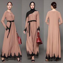 Wholesale Jilbab Islamic Clothes - 2017 Women Muslim Long Dresses Vintage Kaftan Abaya Jilbab Islamic Khaki Muslim Clothing Women Long Sleeve Maxi Dress Vestidos FS2515
