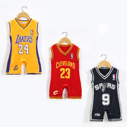 Wholesale Newborn Jumpsuits - New Style Baby Boys girls Rompers Basketball sports suits Summer short Sleeveles jumpsuit climbing clothes Newborn 0-2 year old