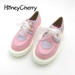 Wholesale White Pink Lolita Shoes - Single 2015 lolita ribbon love platform single shoes casual female shoes