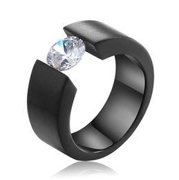 Wholesale Wholesale Titanium Black Diamond Rings - Wholesale men titanium steel diamond ring, black gold three-color wide version of stainless steel ring, free shipping