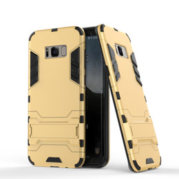 Wholesale Iphone Heavy Duty Metal Case - For Samsung S8 Hybrid Ironman Case 2 in 1 PC+TPU Holster Heavy Duty Rugged Soft Silicone Cover with Stand holder for iphone 7 Samsung S6