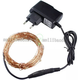 Wholesale Outdoor 12v Led String - 10M Copper Led string 100leds with DC12V 2A power supply holiday led lighting outdoor decoration for christmas decoration MYY