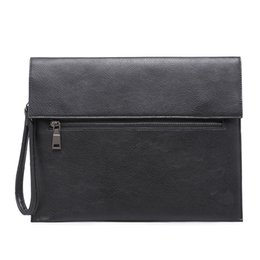 Wholesale bag file briefcase - Wholesale- 2016 Fashion Men Handbag PU Leather Men File Business Briefcase Casual Hasp Envelope Bag