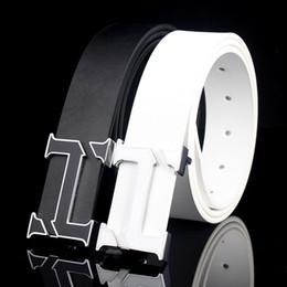 Wholesale Men Plain Belt Buckle - Letter T Alloy Plain Button Belt For Men High Quality 100% Genuine Leather Male Luxury Business Black While Belts European Style