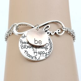 "Wholesale Happy Easter Gift - Hot ! 20Pcs New Fashion women's Antique silver Alloy Infinity Love""Be"" Graffiti Happy Strong Thankfull Gift Pendant Bracelet Chain Charm"