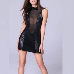 Wholesale Transparent Clubwear Dress - Cheap Clothes China Black Patchwork Mesh Transparent Turtlenec Sleeveless Faux Leather Dress Women Clubwear Club wear Bandage