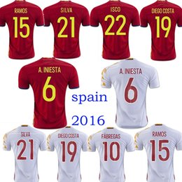 Wholesale Fabregas Spain Jersey - Spain Euro Soccer jersey 2017 INIESTA RAMOS home red away white FABREGAS COSTA SILVA ISCO VAXI top quality spain football shirt