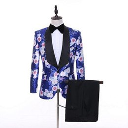 Wholesale Flower Shawls - 2018 New Prom Tuxedos Men Pants Blue Flower Wedding Suits For Men Peaked Lapel 2 Pieces Blazer Sets (Jacket+Pants+Bowtie)