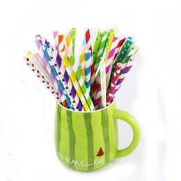 Wholesale Green Party Drinks - Wholesale-25pcs lot colorful paper straws baby shower wedding decoration party supplies birthday party decorations kids drinking straws 5z