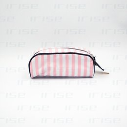 Wholesale Pu Strip - Famous brand strip cosmetic case luxury makeup pencil brush organizer bag beauty toiletry clutch purse tote vanity pouch boutique VIP gift