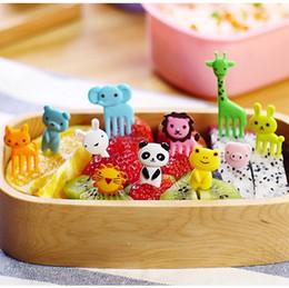 Decorações bonitos da cozinha on-line-Animal Fruta Garfo De Plástico Bonito Mini Dos Desenhos Animados Para A Criança Frutas Toothpick Decoração Criativa Sinal de Acessórios de Cozinha Portátil 2 5zh F