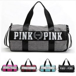 Wholesale Waterproof Pillows - Women Handbags Pink Letter Large Capacity Travel Duffle Striped Waterproof Beach Bag Shoulder Bag 50pcs free ship