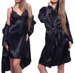 Wholesale satin robe g string - Wholesale- Hot Sexy Women Satin Lace Robe Sleepwear Lingerie Nightdress G-string Pajamas