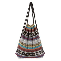 Wholesale Tribal Phone - Wholesale- Handmade Women Vintage Backpack Woven Cotton Drawstring Backpack Gypsy Bohemian Boho Chic Hippie Folk Tribal Female Rucksack