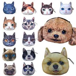 Wholesale Cartoon Coin Wallet - Cat Dog Pet Face Women Coin Wallet Purse Mini Bag Kids Coin Purse Pouch Women Wallets Coins Bags 14 Type