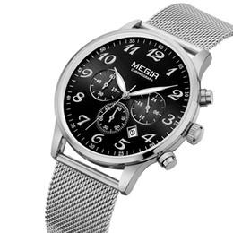 Wholesale Waterproof Watch 24 Hours - 2017 Megir Mens 24-Hour Chronograph Luminous Waterproof Stainless Band Strap Quartz Watches Men Mans Luxury Dress Wristwatch M2022S