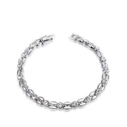 Wholesale Hand Jewerly - Platinum Grain Tennis Bracelet For Women Luxury Bridal Rhinestone Chain Bracelet Wholesale Tennis Jewerly Hand Chain 2060801470