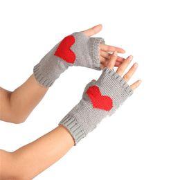 Wholesale Warm Love Glove - Wholesale- 1Pair Winter Wrist Arm Hand Warmer Knitted Love Heart Gloves Long Fingerless Gloves Mitten