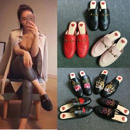 Wholesale Lime Green Flowers - New Embroidery Shoes Genuine Leather Slippers Women Flower Flat Loafers Metal Horse Buckle Slip On Outdoor Casual Slippers Women brand Shoes