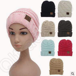 Wholesale Crochet Hat Colors - 12 Colors Kids CC Trendy Beanie Cable Slouchy Caps Outdoor Hats Winter Knitted Woolen Caps Oversized Chunky Beanies CCA5417 200pcs