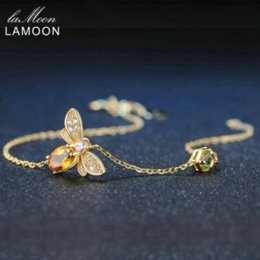 Wholesale Peridot Gold Charm - LAMOON Fine Bee Peridot 5X7mm 100% Natural Oval Citrine 925 Sterling Silver Jewelry Rose Gold Plated Chain Charm Bracelet