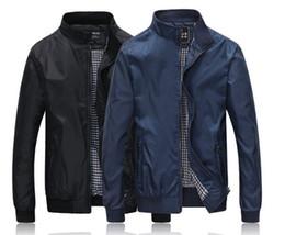 Wholesale Thin Overcoat - Men Jackets Black 2017 Autumn Dress Fashion Solid Overcoat Thin Zipper Casual Bomber Jacket Men Business Coats Windbreaker M-3XL