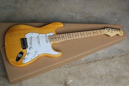 Wholesale St Transparent - High Quality Solid wood body,F Stratocaster ST Transparent paint yellow Electric Guitar,Free Shipping