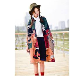 Wholesale Sweaters Cartoon Women - Wholesale- Women Sweater Cardigan Long Sleeve Cartoon Pattern Knitting Poncho Outerwear Korean Style Knitwear Knitted Jacket Coat Jumper