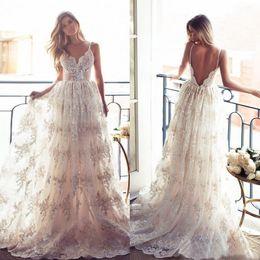 Wholesale Sheer Beach Gowns - Lace Backless Country Wedding Dresses Boho Beach Modest A-Line Spaghetti Straps Illusion Bodice Bridal Gowns vestidos de novia 2018