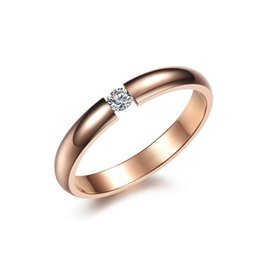 Wholesale Stylish Gold Rings For Women - Fashion Day Jewlery 2017 Stylish Women Rose Gold White Black Ring Stainless Steel Inlaid Shining Crystal Drill Smooth Design Band for Womens