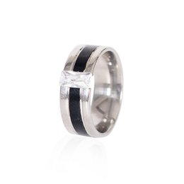 Wholesale Vintage Crystal Jewellery Sets - Mens Rings Stainless Steel Crystal Natural Stone Finger Ring Vintage Jewelry in Silver-color Jewellery Wholesale JRA0007