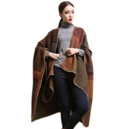 Wholesale Oversized Knitted Scarf - Wholesale- Oversized Sweater Cardigan 2016 New Woman Plaid Cape Poncho Shawls Lady Winter Warm Thick Scarf Female Split Shawl Cloak Coat