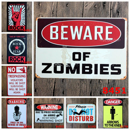 Wholesale Rock Poster Art - Rock Music Warning DANGER Prompt Slogan Metal Poster Wall Decor Bar Home Vintage Craft Gift Art Iron painting Tin Poster(Mixed designs)