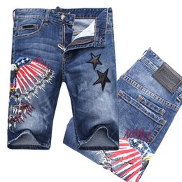 Wholesale Denim Shorts Stars - Embroidery Stars Eagle Stitch Detailed Embroidey Air Force Letter Distressed Faded Denim Shorts Man Skull Short Jeans