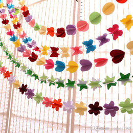 Wholesale Butterfly String Decorations - Color 3layer paper 3D flower stars butterfly string valentine's day birthday party Flag Wedding hang Pennants Banner Decor flags