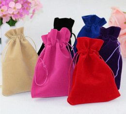 Wholesale Jewel Pouches - New Black Jewelry Pouches Bags Velvet Drawstring Bags for Bracelet Earring Necklace Wedding Gift DIY Packaging Jewel Case Free Shipping
