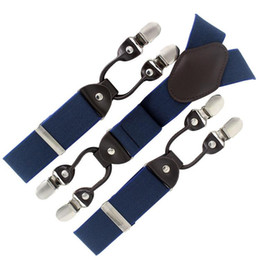 Wholesale Apparel Boxes Red - Wholesale-2015 leather suspenders fashion braces gift box Adjustable 6 Clips man woman suspenders Men's Gift Wedding apparel accessorie