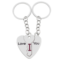 Wholesale Puzzle Piece Ring - 3 piece Broken Heart Puzzle Key Shape Keychain Stitch Couple I Love You Key Chain Ring For Lovers Charm Wedding Birthday Party Jewelry