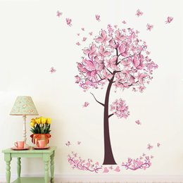 Wholesale Tree Mural Pink Flowers - % Pink Butterfly flower tree wall sticker Living Room Bedroom Wall Decal TV Sofa Background Home Decor Mural Wallpaper