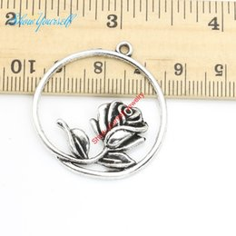 Wholesale Diy Craft Jewelry - Wholesale-10pcs lot Antique Silver Plated Round Circle Flower Charm Pendants for Necklace Jewelry Making DIY Handmade Craft 36x34mm