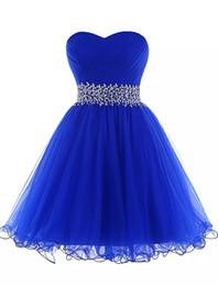 vestido de noche de adulto fuera del hombro Rebajas Vestido de fiesta de tul azul real Vestido de fiesta de novia con cordones 2019 Vestidos de fiesta cortos elegantes Nuevo vestido de fiesta
