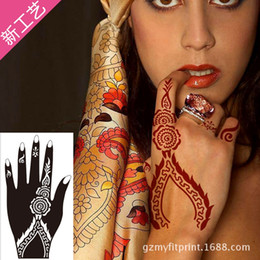 Wholesale Wholesale Body Painting Supplies - Wholesale-1Pair Hands Tattoo Templates Henna Tattoo Stencils For Airbrushing Professional Mehndi Body Painting Kit Supplies