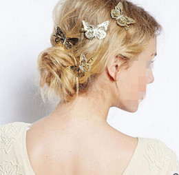 Wholesale Gold Wedding Head Pieces - Gold A++ Simulation butterfly hairpin wedding dress accessories beach beach head flower hair ornaments H0522 mix order pieces a lot